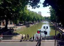 The Canal Saint-Martin in Paris Royalty Free Stock Images