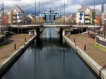 Canal at Salford Quays, Manchester. Mariner's Canal, The Quays, Salford Quays, Manchester, England, UK stock photo