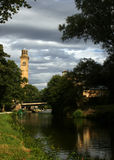 Canal at Salt Mill, Saltaire. The Canal and Towpath at Salts Mill, Saltaire - World Heritage Site Royalty Free Stock Image