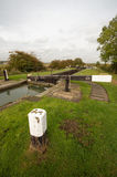 Canal scene. A typical canal lock scene from a section of the Grand Union Canal in Northamptonshire stock photos