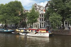A canal scene in Amsterdam Royalty Free Stock Photo