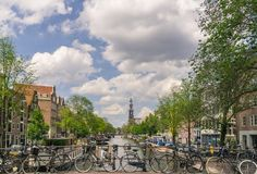 Canal Scene in Amsterdam. A typical canal scene in the capital of The Netherlands, Amsterdam in summer royalty free stock photography