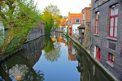 Canal Scene in Bruges, Belgium. Peaceful, picturesque scene along a canal in Bruges, Belgium Royalty Free Stock Photography