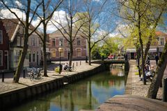 Edam canal. A canal scene in Edam at spring time royalty free stock image