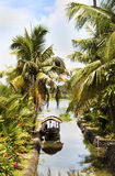 Canal scene taxi boat Kerala backwaters India. Side artery canal scene of small taxi boat Kerala backwaters India, coconut trees, palm leaves, flora, water, lake Royalty Free Stock Image