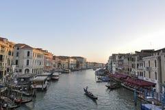 Canal scene in Venice Italy. Canal scene of Venice from bridge of Rialto in Venice Italy stock photography
