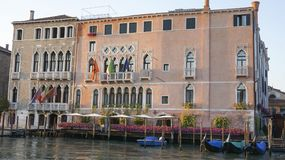 Canal scene in Venice Italy. Canal scene and river from bridge of Rialto in Venice Italy stock photo