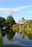 Canal side houses by Lancaster canal, Lancaster. Stock Photo