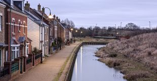 Canal-side living in Swindon`s East Wichel. At Dawn stock photography