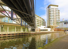 Canal Side Luxury Apartments royalty free stock photo