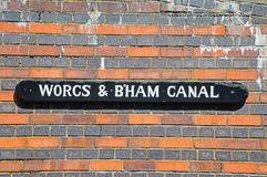 Canal sign, Gas Street Basin, Birmingham. Stock Image