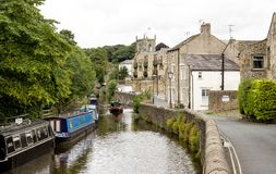 Canal in Skipton. The canal as it runs through the centre of Skipton Stock Image