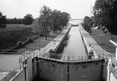 Canal sluice. Northern Canal lock in Przegalina - view towards the Dead Vistula. Photo was taken by camera Olympus XA, Fomapan profi line classic 100/36 Royalty Free Stock Image