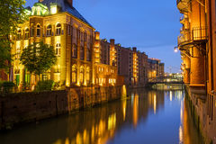 Canal in the Speicherstadt at night Royalty Free Stock Photography
