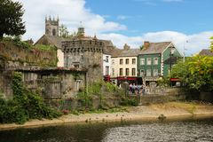 Canal Square. Kilkenny. Ireland. Canal Square. Belfry of Saint Mary `s  church at a distance. Kilkenny. Ireland Royalty Free Stock Images