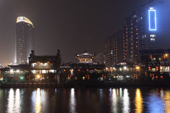 Canal Square. Night view of Hangzhou Canal Square Royalty Free Stock Photography