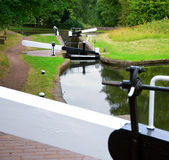 Canal staircase locks Royalty Free Stock Photo