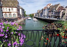 Canal in Strasbourg. Canal view in Strasbourg, Alsace Royalty Free Stock Photos