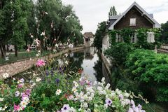 A canal in Strasbourg, France, with flowers Royalty Free Stock Photo