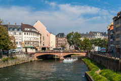 Canal in Strasbourg sity center Royalty Free Stock Photos