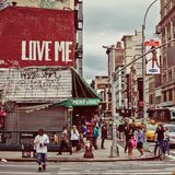 Canal street and Broadway in NYC. Canal street and Broadway street scene in New York City stock image