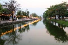 Canal between street Stock Photos
