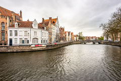 Canal, street and houses Stock Photography