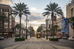 Canal Street in New Orleans. NEW ORLEANS - OCTOBER 10, 2016: view of the famous Canal Street on October 10, 2016 in New Orleans, LA Stock Photos