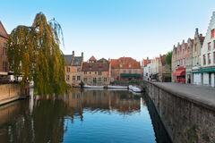 Canal street of old town, Bruges Royalty Free Stock Photography