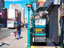 Canal Street subway station at Chinatown in New York. NEW YORK,USA - AUGUST 21,2015 : Entrance to Canal Street subway station at Chinatown in New York City royalty free stock photo