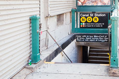 Canal street subway station. In Manhattan New York royalty free stock photo