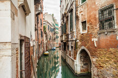 Canal street in Venice. Typical canal street of Venice, Italy Stock Photos