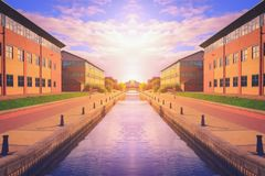 Canal at sunset in Stockton on tees, North Yorkshire. UK Royalty Free Stock Photo