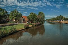 Canal that surrounds the City Center of Bruges. Royalty Free Stock Photo
