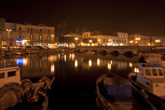 Canal of Syracusa (Syracuse) at night- Sicily Royalty Free Stock Image