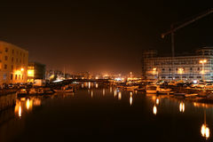 Canal of Syracusa (Syracuse) at night- Sicily Royalty Free Stock Photos