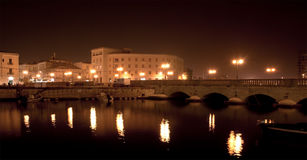 Canal of Syracusa (Syracuse) at night- Sicily Stock Photo