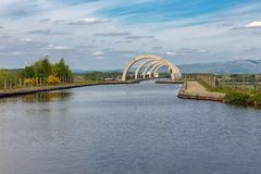 Canal to the Falkirk Wheel, rotating boat lift in Scotland, Stock Photography