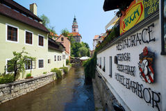 Canal and Tower of Cesky Krumlov Castle Royalty Free Stock Photos