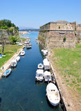 Canal in the town of Corfu, Greece, Europe Royalty Free Stock Photography