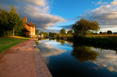 Canal, towpath and locks Stock Photo