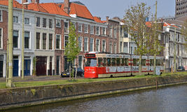 Canal and tram in Hague Royalty Free Stock Photo