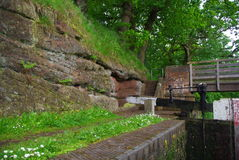 Canal. UK canal in a lock Royalty Free Stock Photo