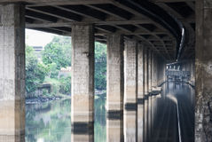 The canal under expressway  Royalty Free Stock Photos