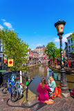At a canal in Utrecht, Netherlands Stock Images