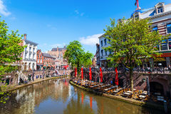At a canal in Utrecht, Netherlands Stock Photography