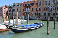 Canal in Venecia. With boat Stock Image