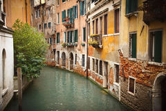 Canal in Venice. Old buildings on canal in Venice Royalty Free Stock Images