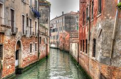 Canal in Venice with ancient hoses, Venice, Italy (HDR) Stock Images
