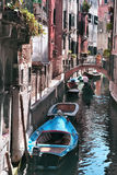 Canal in Venice crowded Royalty Free Stock Photo